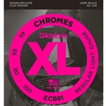 DADDARIO ECB81 Chromes Bass Guitar Strings, Lt 45-100, Long Scale