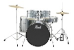 PEARL RS525SC/C706 Roadshow 5pc Drum Set W/hdw & Cymbals, Charcoal Met