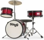 "STAGG TIMJR3/12RD 3 Piece Jr Drum Set 12"" Bass Drum Red"