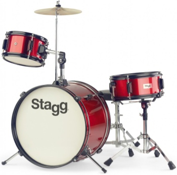 "STAGG TIMJR3/16RD 3 Piece Jr Drum Set 16"" Bass Drum Red"